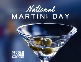 National Martini Day - Creative has an image of a Martini with some olives in it.