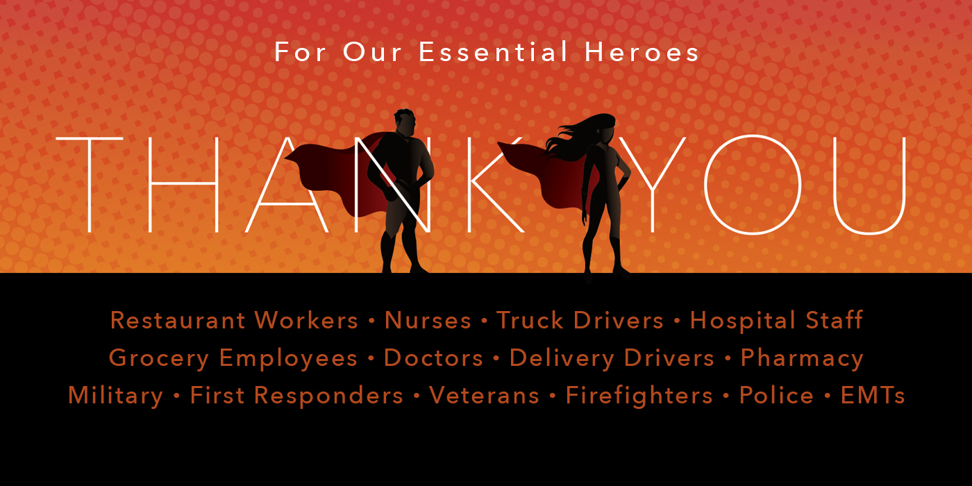 Thank You - creative is an image of two heroes on an orange background