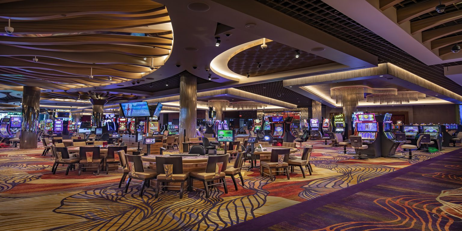 SAHARA remodeled casino floor with slot machines and blackjack tables