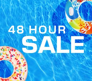 California 48 Hour Sale with pool and floatie background