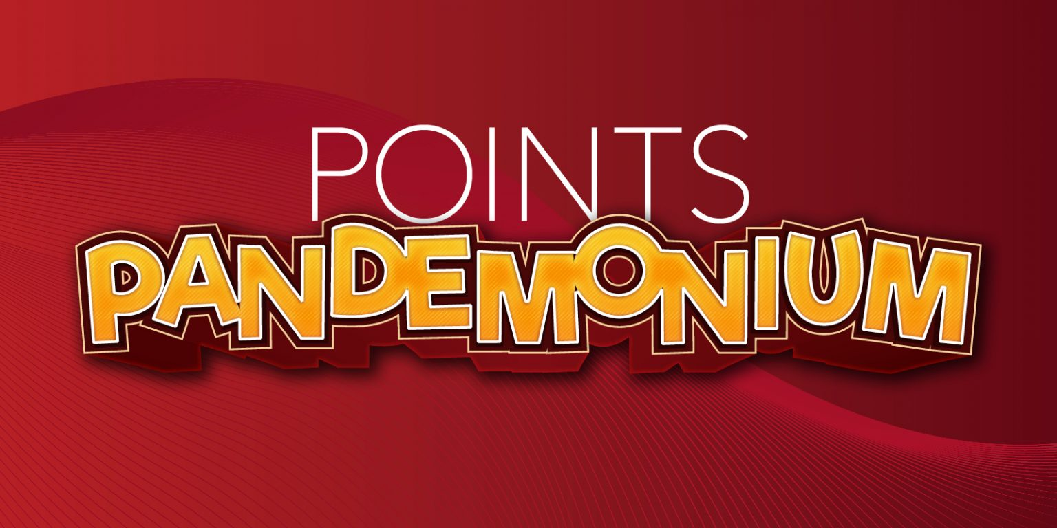 Points pandemonium sign against red background