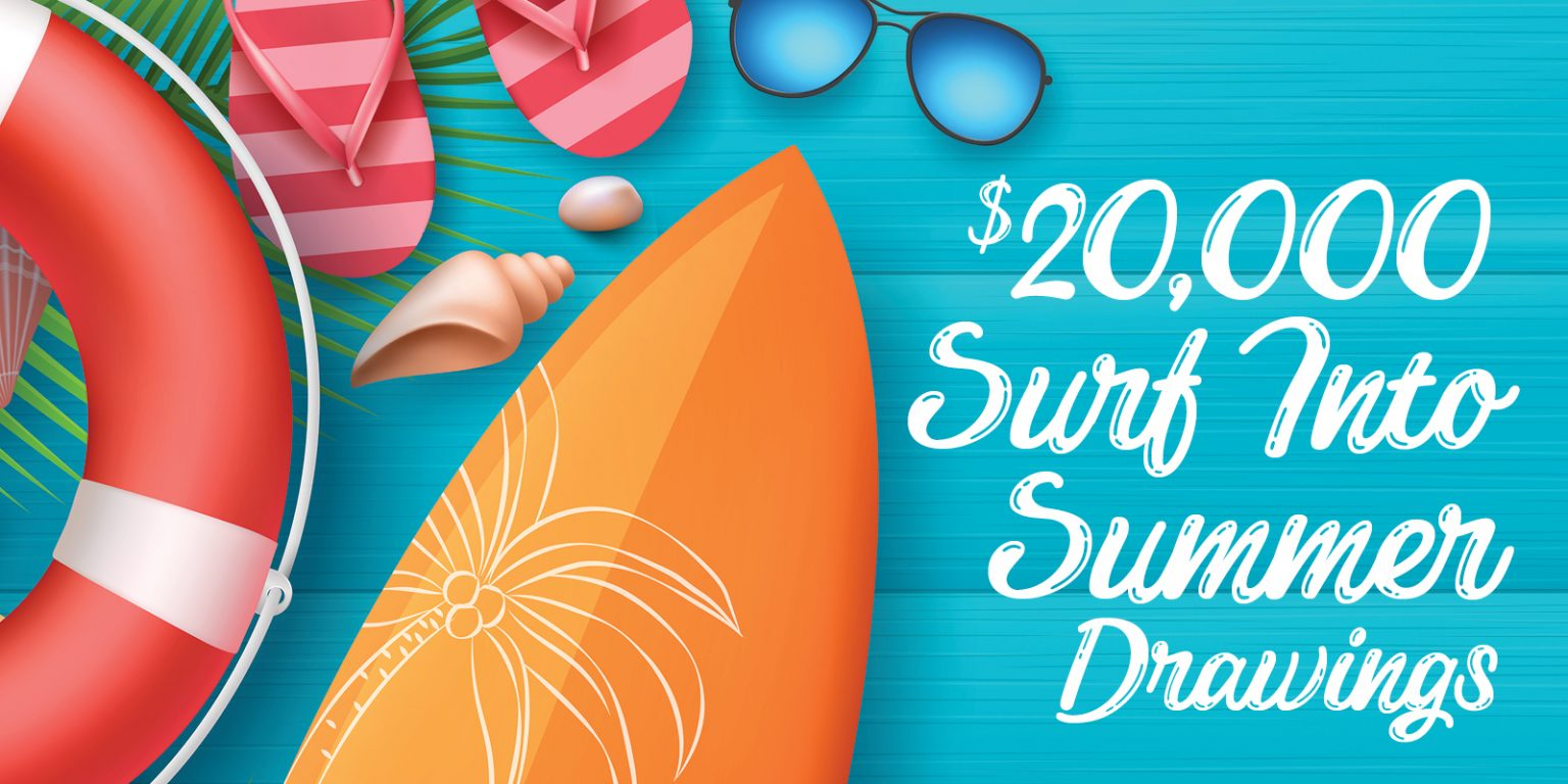 $20,000 Surf Into Summer Drawings - creative has image of a sunglasses, sandals, floatie and surfboard
