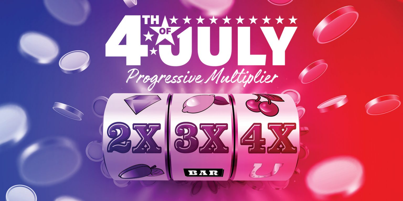 4th Of July Progressive Multiplier - Creative is a slot dials with 2x, 3x and 4x on it.