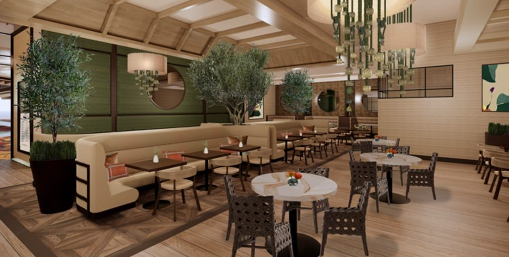 Rendering of Zeffer's - with seating and tables