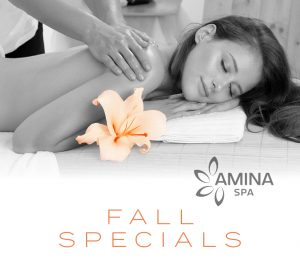 Woman getting a massage with the words Fall SPa Specials on the image